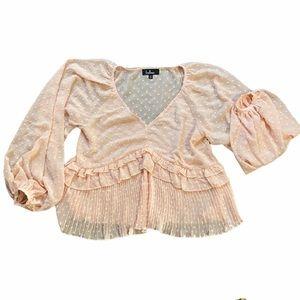 Lulus size medium polka dot ruffle blouse